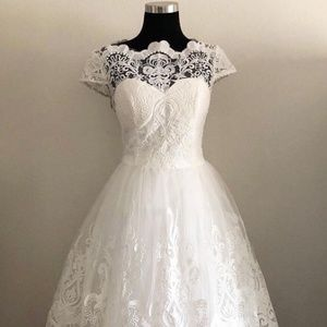 Vintage 50s Style Lace Wedding Dress